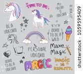 unicorn slogan set isolated on...