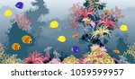 sea underwater world with coral ... | Shutterstock .eps vector #1059599957