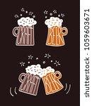 two beers with foam. craft beer ... | Shutterstock .eps vector #1059603671