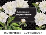 business card with white peony... | Shutterstock .eps vector #1059608087