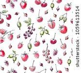 hand drawn summer berry... | Shutterstock .eps vector #1059613514