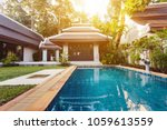 private swimming pool with... | Shutterstock . vector #1059613559