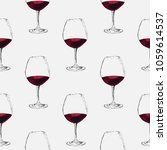 hand drawn sketch of wine glass.... | Shutterstock .eps vector #1059614537