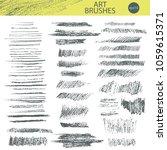 set of vector grungy pencil art ... | Shutterstock .eps vector #1059615371