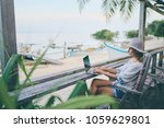 technology and travel. working... | Shutterstock . vector #1059629801