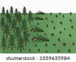 cutting down of a pine forest... | Shutterstock .eps vector #1059635984