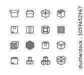 paper and wood box line icons.... | Shutterstock .eps vector #1059652967