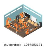 isometric factory workshop with ... | Shutterstock .eps vector #1059653171