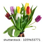 bouquet of colorful tulips...   Shutterstock . vector #1059653771
