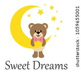cartoon cute bear with tie and... | Shutterstock .eps vector #1059655001