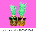 fashion two  pineapple with... | Shutterstock . vector #1059659861