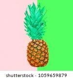 pineapple fruit on colorful... | Shutterstock . vector #1059659879