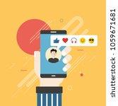 human hand holding mobile phone ... | Shutterstock .eps vector #1059671681