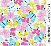 butterfly pattern vector... | Shutterstock .eps vector #1059677411