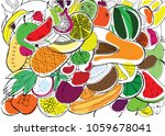 various fruits are painted on a ... | Shutterstock .eps vector #1059678041