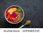 acai smoothie bowl with chia... | Shutterstock . vector #1059685235