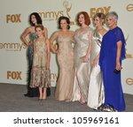 Small photo of LOS ANGELES, CA - SEPTEMBER 18, 2011: Jessica Pare, Kiernan Shipka, Elisabeth Moss, Christina Hendricks, Cara Buono & Randee Heller at the 2011 Emmy Awards September 18, 2011 Los Angeles, CA