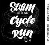 triathlon hand drawn lettering  ... | Shutterstock .eps vector #1059694589