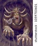 a huge monster with horns...   Shutterstock . vector #1059703601