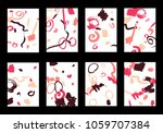 set of 8 cover templates with... | Shutterstock .eps vector #1059707384