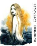 dreamer. beautiful woman.... | Shutterstock . vector #1059714284
