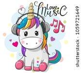Stock vector cute cartoon unicorn with headphones on a blue background 1059721649