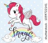 cartoon cartoon unicorn is... | Shutterstock .eps vector #1059722141