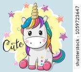 cute cartoon unicorn isolated... | Shutterstock .eps vector #1059723647
