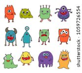 set of stickers with monsters | Shutterstock .eps vector #1059726554