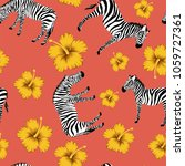 animal zebra with yellow... | Shutterstock .eps vector #1059727361