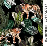 Stock vector going exotic animal tiger in the dark jungle pattern black background illustration seamless vector 1059727367