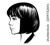 beautiful girl portrait. bob...   Shutterstock .eps vector #1059732641