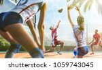 group of friends is playing... | Shutterstock . vector #1059743045