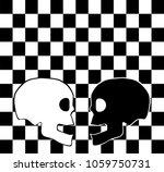 black and white skull on the...   Shutterstock .eps vector #1059750731