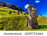 rano raraku volcano has on its... | Shutterstock . vector #1059751064