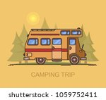 truck camper at forest or... | Shutterstock .eps vector #1059752411