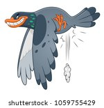 pooping cartoon funny pigeon on ... | Shutterstock .eps vector #1059755429