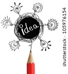 red pencil with abstract speech ... | Shutterstock . vector #105976154