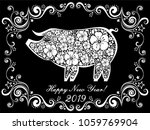 2019 happy new year greeting... | Shutterstock .eps vector #1059769904