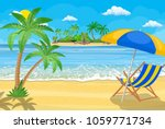 landscape of wooden chaise... | Shutterstock . vector #1059771734