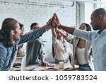 high five for success  diverse... | Shutterstock . vector #1059783524