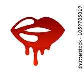 red lips icon with flowing... | Shutterstock .eps vector #1059785819