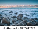 atlantic shore with waves and... | Shutterstock . vector #1059785999