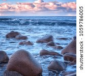 atlantic shore with waves and... | Shutterstock . vector #1059786005