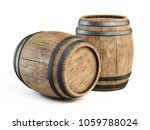 Two Wooden Barrels Isolated On...