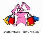 crazy rabbit holds shopping bag ... | Shutterstock .eps vector #1059791639