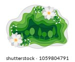spring park with flowers. urban ... | Shutterstock .eps vector #1059804791