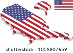 3d isometric map of usa with... | Shutterstock .eps vector #1059807659