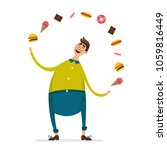 happy fat young man funny... | Shutterstock .eps vector #1059816449