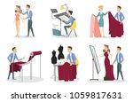 tailoring illustrations set.... | Shutterstock .eps vector #1059817631